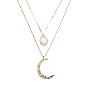 Lunar Necklace, Rainbow Moonstone Necklace, Crescent Moon Necklace, Gold Moon, Gold Layer Necklace, Dainty Necklace, Celestial Necklace