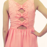 Ambrosia Coral Lace Open Bow Dress