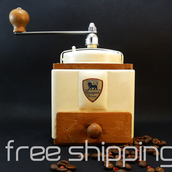 Peugeot Coffee Grinder French Vintage 1950's Creamy white Coffee Breakfast ware Kitchen decor Coffee machine Restaurant