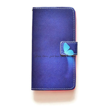 LG G4 Wallet Blue Butterfly Wallet Case For LG G4 Romantic LG G4 Wallet Girly Cute L585