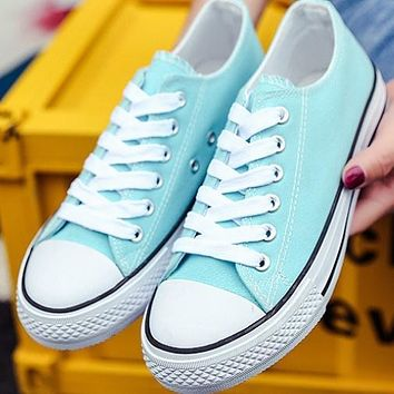 Converse men and women classic fashion casual leisure shoes F Light blue