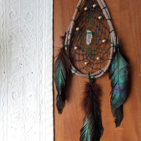 Teardrop Dream Catcher with Quartz Crystal // Healing Wall Decor for Home or Apartment