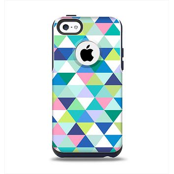 The Vibrant Fun Colored Triangular Pattern Apple iPhone 5c Otterbox Commuter Case Skin Set