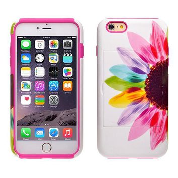 Apple iPhone 6/6s Plus Dual Layer Credit Card Hybrid Case With Design, ID Holder with Kickstand - Vivid Sunflower