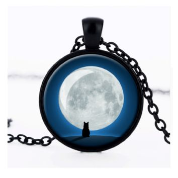 Wolf Totem Glass Necklace Night Sky Wolves Animals Pendant Necklace