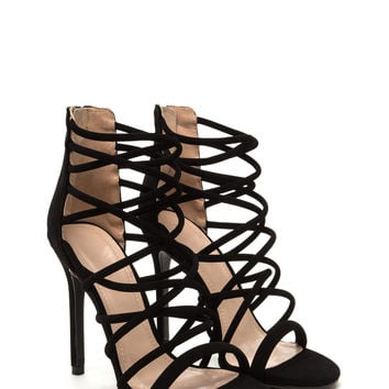 Midnight Hour Caged Stiletto Heels GoJane.com