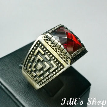 Authentic Turkish Ottoman Style Handmade 925 Sterling Silver Ring For Men With Red Garnet Stone.