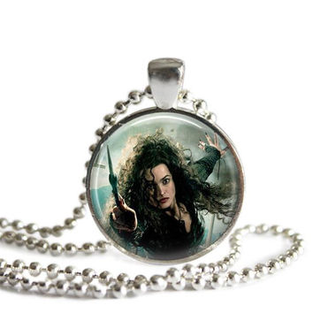 Bellatrix Lestrange Silver Plated Pendant Necklace Handcrafted Harry Potter Jewelry