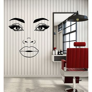 Vinyl Wall Decal Makeup Girl Fashion Female Face Eyelashes Lips Stickers Mural (g2720)