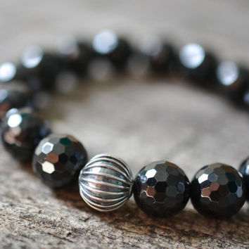 Black Tourmaline Bracelet, Black Bead Bracelet Women, Sterling Silver Bracelet, Gemstone Bracelet, Fashion Bracelet, Luxury Jewelry, Gifts