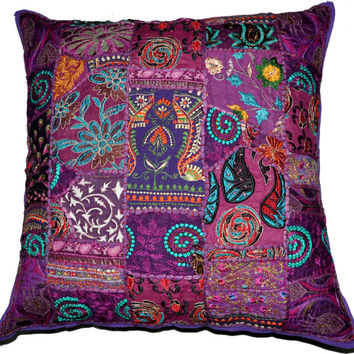 On Sale 24x24 Indian Patchwork Pillow Cover, Purple Bohemian Pillow, Indian Cushion Cover, Throw Pillow Floor Pillow Ethnic Pillow Decor