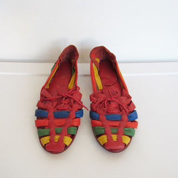 Womens Vintage 1980s Boho / Multicolored Leather Huaraches / Woven Sandals / Size 7