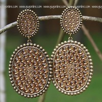 Pink Panache Large Bronze Double Oval Earrings with Topaz Crystals