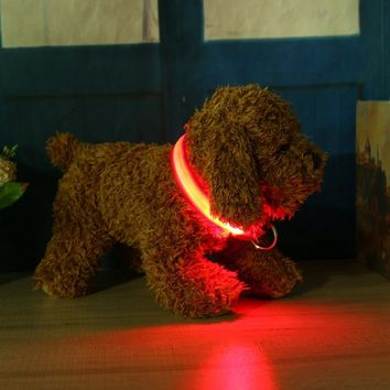 2.5cm LED Dog Collar Night Flashing Pet Necklace Nylon Collar Leash with Button Battery Adjustable Dogs Accessory