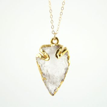 Crystal Quartz Arrowhead Necklace
