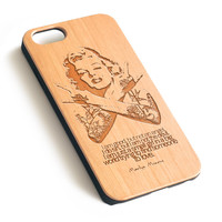 Marilyn Monroe Tattoos Natural wood iPhone case laser engraved iPhone case WA051