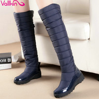 VALLKIN Blue Over The Knee Boots PU leather+Down Round Toe Wedge Low Heel Boots Women Snow Boots Wedding Snow Boots Size 35-43