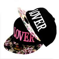 Fabric flowers LOVER caps 3D Embroidery Letters Baseball snapback hip hop cap sun hat for men women