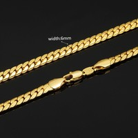 """6mm Solid Yellow Gold  Color Cuban Link Women/ Men's Necklace Chain 18""""-26"""" US"""