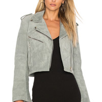 Understated Leather Cropped Bell Sleeve MC Jacket in Smoke | REVOLVE