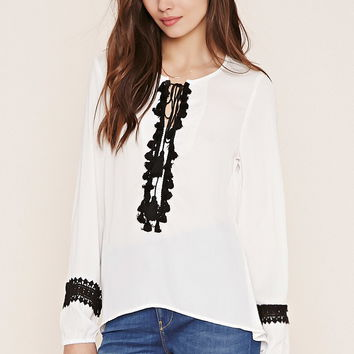 Contemporary Tassel-Trimmed Blouse | FOREVER 21 - 2000183593