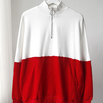 Retro High Neck Color Block Pullover Sweatshirt