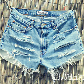Ripped High Waisted Shorts (MEDIUM)