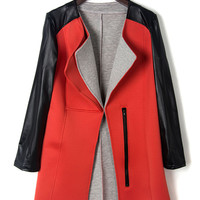 Red Color Block Lapel PU Sleeve Coat