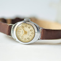 Rare woman watch Lyre retro woman's watch tiny silver chocolate shades watch premium leather strap new