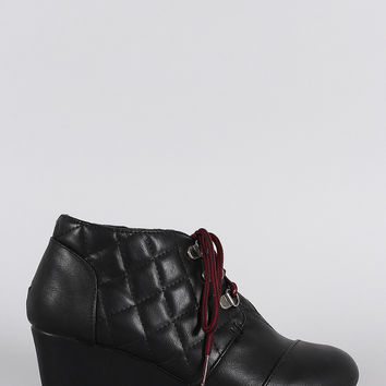 Bamboo Vegan Leather Patch Work Wedge Quilted Booties