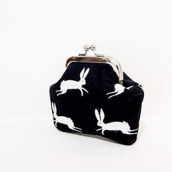 Jack Rabbit Coin Purse, Metal Frame Coin Purse, Fabric Pouch, Small Pouch, Snap Pouch, Cute Coin Purse, Black + White Cotton + Steel Rabbit