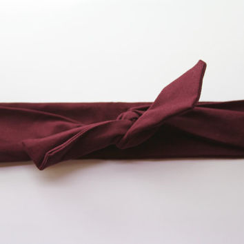Burgundy/Maroon Dolly Bow Tie Up Wire Headband, Hair Wrap. Teens, Adults, Children's Hair Wraps