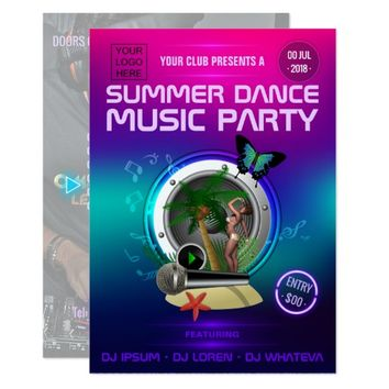 Club Summer Dance Music Party add logo and photo Card