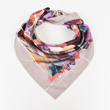 "Chanel Fall 2012 ""Mauve"" Pink Multicolor Silk Twill 'CC' Abstract Print Scarf"