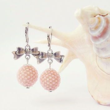 Tea Rose Beadwork Earrings, Beaded Bead Earrings with Bow, Pastel Pink Beaded Bead Earrings, Handmade Beaded Jewelry