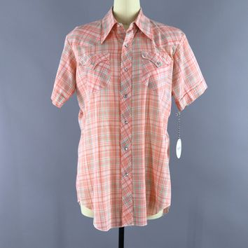 Vintage 1960s H Bar C California Ranchwear Western Shirt / Peach Orange Madras Plaid