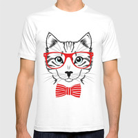 Hipster Cat with Red Glasses T-shirt by Smyrna