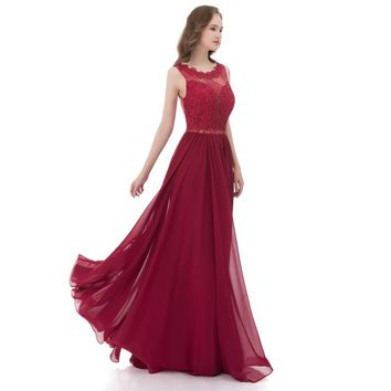 Lover Kiss Long Burgundy Prom Dresses For Women Spring Summer Lace Chiffon Christmas Party Gowns Plus Cheap vestido formatura