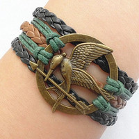Hunger games letty retro inspired Mockingjay bird with bronze arrows bracelet-Katniss's arrow charm