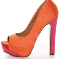 My Delicious Rainer Coral Multi Color Block Platform Heels - $29.00