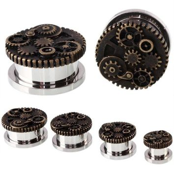ac DCCKO2Q 2PCS Steampunk Wheel Design Srew Fit Steel Ear Plugs and Tunnels Piercings Ear Stretchers Gauges Expander Body Jewelry Piercings