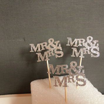 Mr. & Mrs. Cupcake Toppers, Glitter cupcake toppers, Bridal Shower Cupcake toppers, Wedding Cupcake toppers, Engagement Cupcake Cake Topper