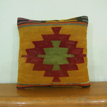 Throw Pillow 16x16 Mustard yellow red light green medallion Handwoven wool Elbeyli Turkey Kilim Pillow vintage tribal pillow rustic decor