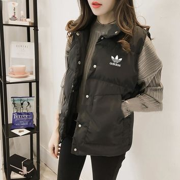 adidas women fashion solid color sleeveless cotton padded clothes vest jacket coat