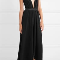 Caravana - Alimia leather-trimmed cotton maxi dress