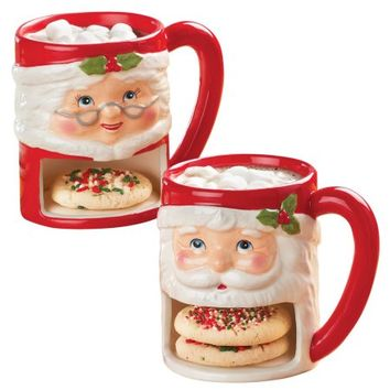 Santa and Mrs Claus Christmas Cookie Mug Set - Walmart.com