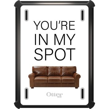 """DistinctInk™ OtterBox Defender Series Case for Apple iPad - Brown Couch """"You're in My Spot"""""""