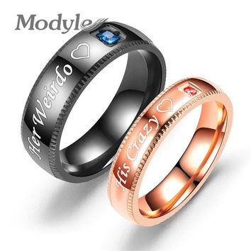 Modyle Promise Couple Rings Trendy Her King & His Queen Custom Crytal Stone Crown Charm Stainless Steel Wedding Ring for Women