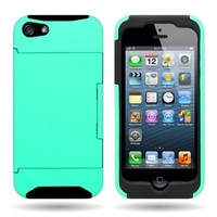 CoverON® Hybrid Dual Layer Case with Credit Card Holder for Apple Iphone 5S / 5 - TEAL Hard BLACK Soft Silicone