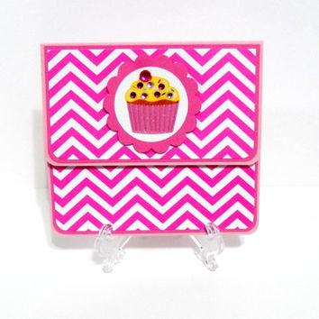 Gift Card Holder, Gift Card Envelope, Gift Card Box, Money Holder- Pink Chevron